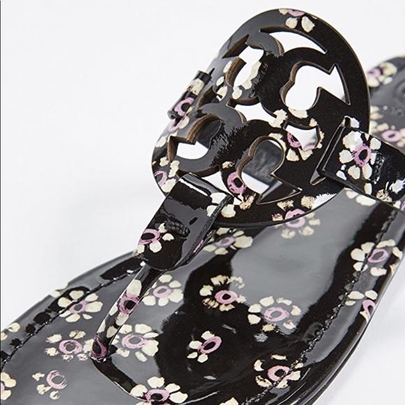 c57d75b69a9 Tory Burch Miller Black Stamped Floral Sandal